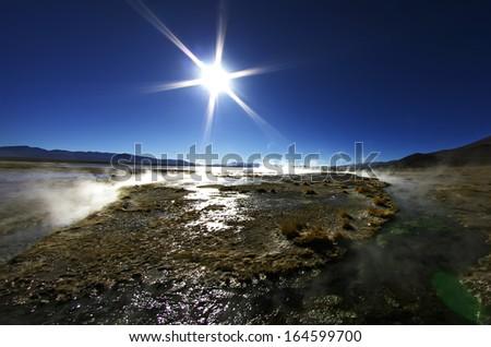 Hot spring in Bolivia. Altiplano - stock photo