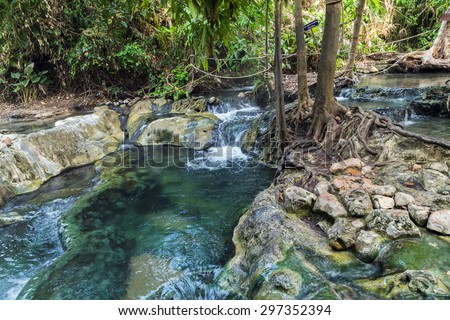 Hot Spring in the south of Krabi province in Klong Thom are nature own hot-tub jacuzzis, nam tok rawn in Thai. - stock photo