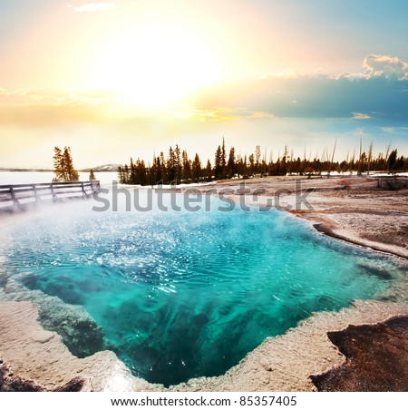 Hot Spring in Yellowstone - stock photo