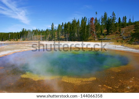 Hot spring pool in Yellowstone National Park - stock photo