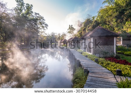 Hot spring spa, travel and recreation place in Fang, Chiangmai, Northern of Thailand - stock photo