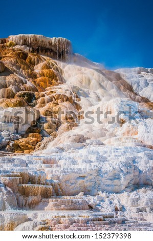 Hot spring terraces in Yellowstone national park - stock photo