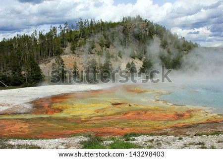 Hot Springs in Yellowstone National Park, Wyoming, USA.