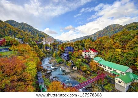 Hot springs resort town of Jozankei, Hokkaido, Japan - stock photo