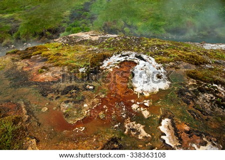 Hot springs valley near Hveragerdi, bubbling thermal water, Iceland - stock photo