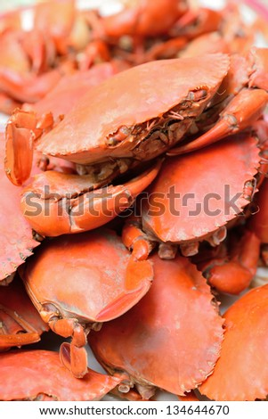 Hot Steamed Blue Crabs - stock photo