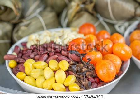 Hot steamed rice dumpling or zongzi - stock photo
