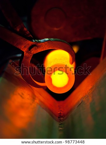 Hot steel for rolling in heater - stock photo