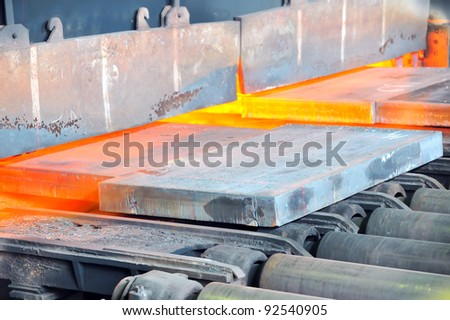 hot steel in oven - stock photo