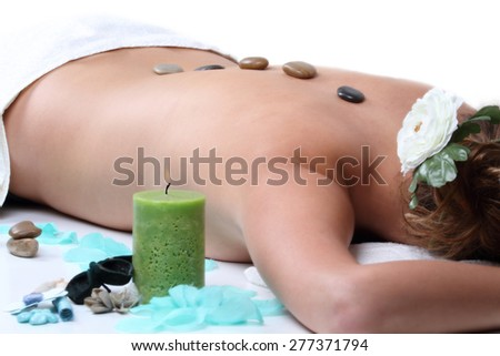 hot stone therapy - stock photo