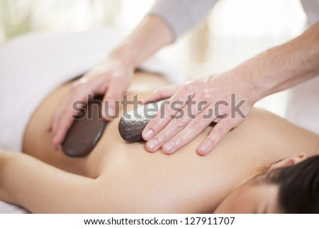 Hot stones doing their thing at a health and beauty spa