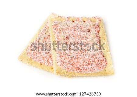 Hot Strawberry Toaster Pastry with frosting and sprinkles - stock photo