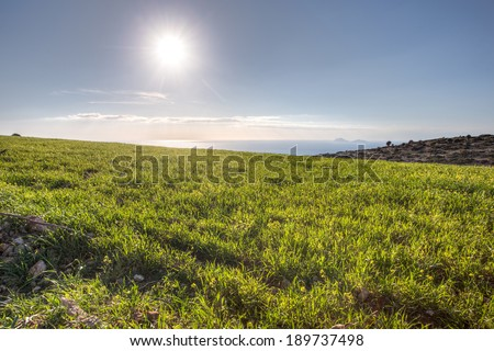 Hot sun shining from a clear blue sky over a lush green grassy field on a summer day on Crete, Greece showing the nature and beauty of the island - stock photo