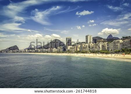 Hot Sunny day on Copacabana Beach in Rio de Janeiro, Brazil - stock photo