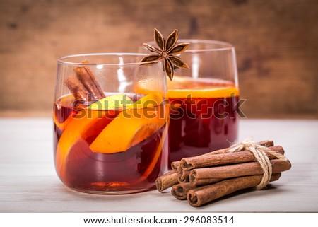 hot tea and orange fruit on sill - stock photo
