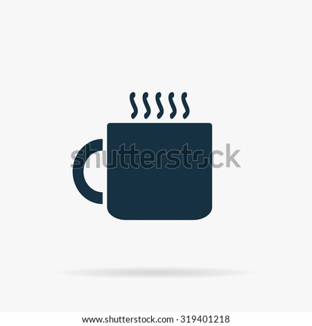 Hot tea cup. Flat web icon or sign on grey background with shadow. Collection modern trend concept design style illustration symbol - stock photo