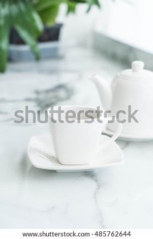 hot tea cup on the table