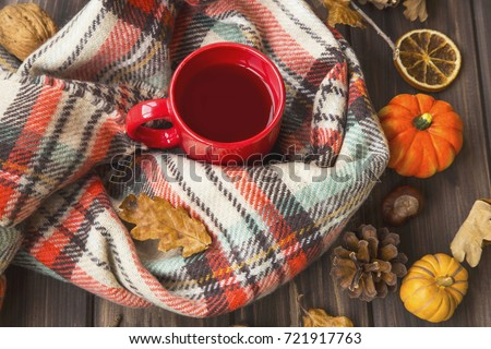 Hot tea cup with cozy scarf, autumnal feeling setting on old wooden board with fall decoration ornaments and dried leaves