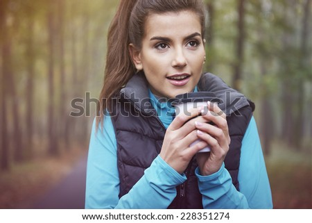 Hot tea is good idea for frozen day  - stock photo