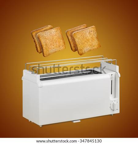 Hot toast fly white toaster  - stock photo