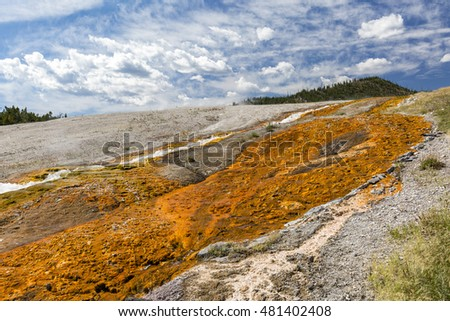 Hot volcanic stream pouring into Firehole River at Grand Prismatic Spring , Yellowestone National Park, Wyoming, USA