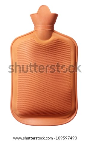 Hot Water Bottle on White Background - stock photo