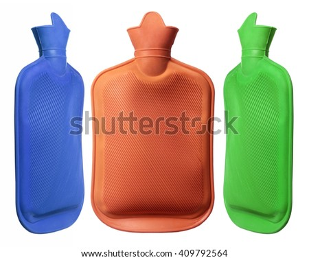 Hot Water Bottles on White Background - stock photo