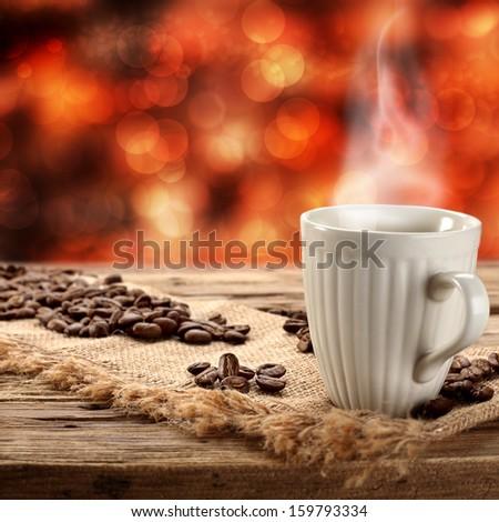 hot winter coffee  - stock photo