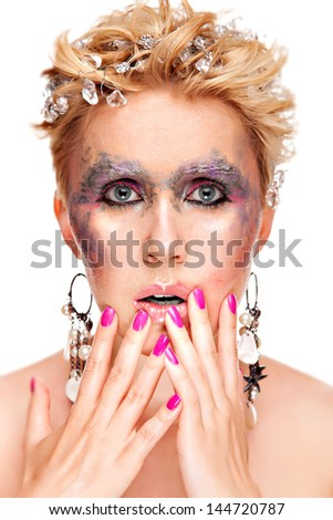 hot young woman with paint face art