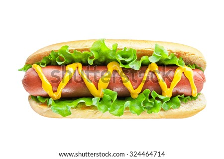 Hotdog with big sausage and fresh salad isolated on white - stock photo