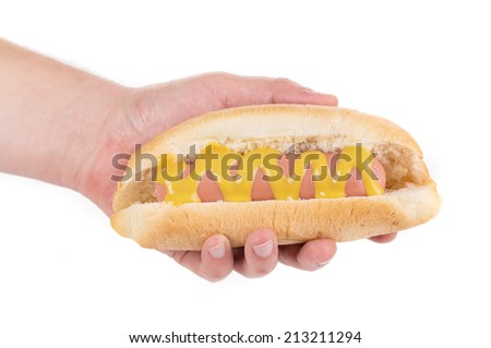 Hotdog with mustard in hand. Isolated on a white background.