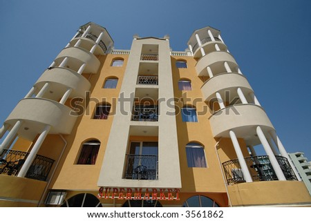 Hotel and clear blue sky