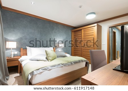 Hotel apartment, bedroom interior