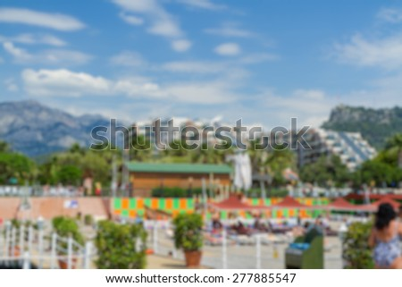 hotel area view with montains abstract blur background