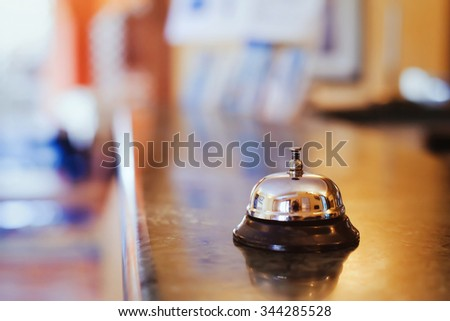 hotel background concept, reception - stock photo