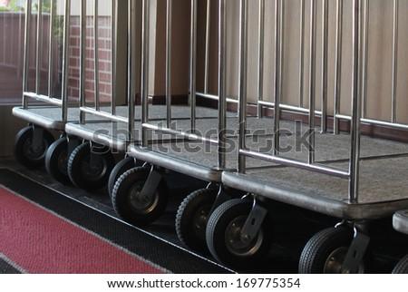 Hotel baggage cart - stock photo