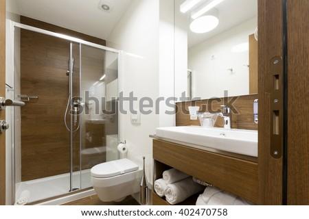 Hotel bathroom interior - stock photo