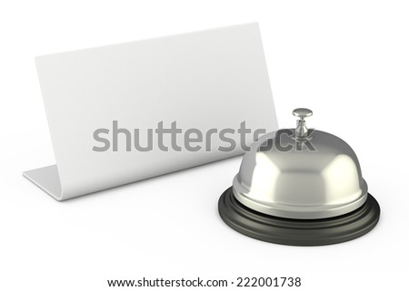 Hotel Bell with Blank Sign - stock photo