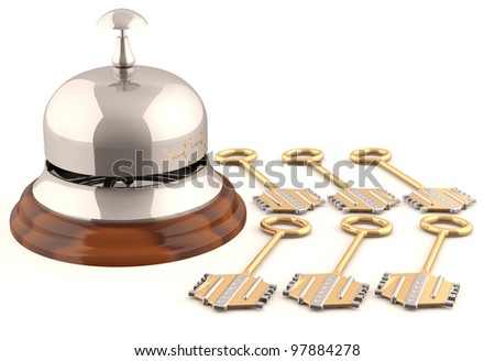 Hotel bell with keys. 3D model - stock photo