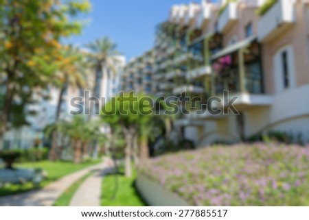 hotel building view abstract blur background