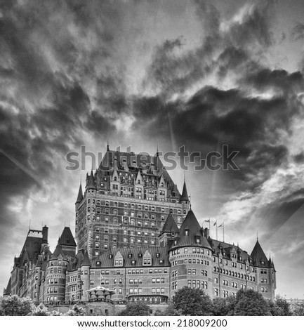 Hotel de Frontenac, Quebec. Famous City Castle at sunset, Upward view - stock photo