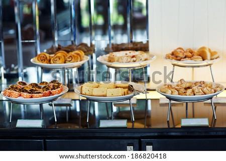 hotel dry breakfast in assortment - stock photo