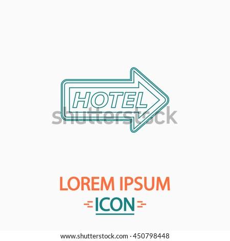 Hotel Flat thin line icon on white background. Illustration pictogram - stock photo