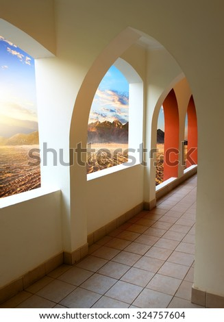 Hotel in egyptian desert at the sunrise - stock photo