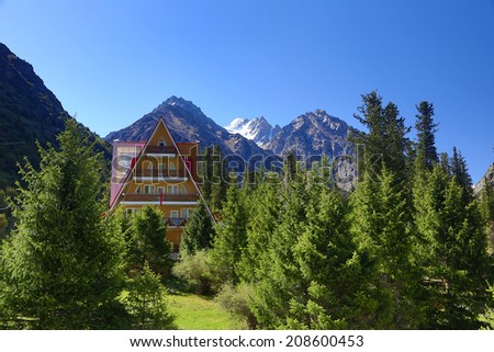 Hotel in mountains.  picturesque resort in summer. Kyrgyzstan.