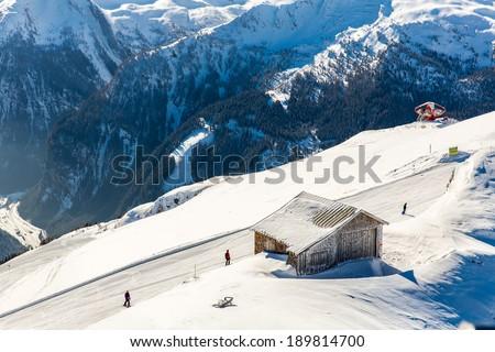 Hotel in ski resort Bad Gastein in winter snowy mountains, Austria, Land Salzburg,  Austrian alps - nature and sport background - stock photo