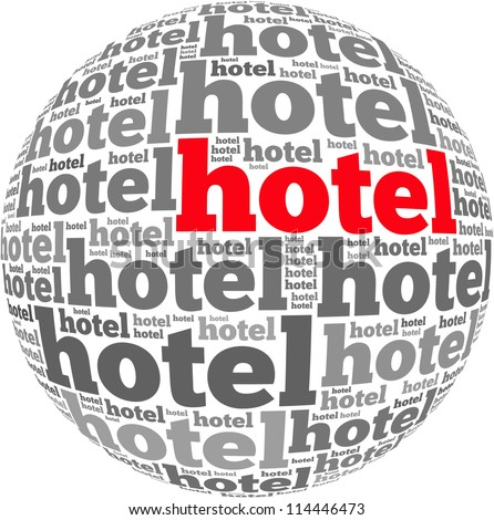 Hotel info-text graphics and arrangement concept on white background (word cloud)