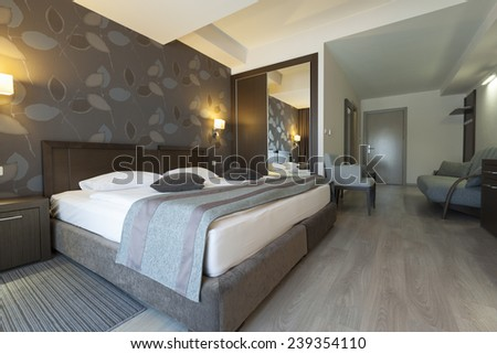 hotel interior apartment bedroom  - stock photo