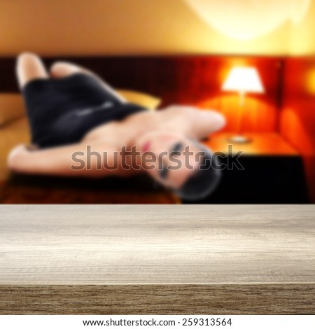 hotel interior of room and desk of furniture  - stock photo