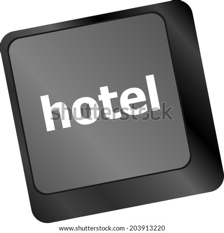 Hotel key in place of enter key - business concept - stock photo